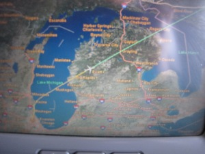 Picture of map on the plane as we were flying - Chicago through Michigan