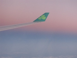 Just before landing in Dublin the rosy gleam of dawn.